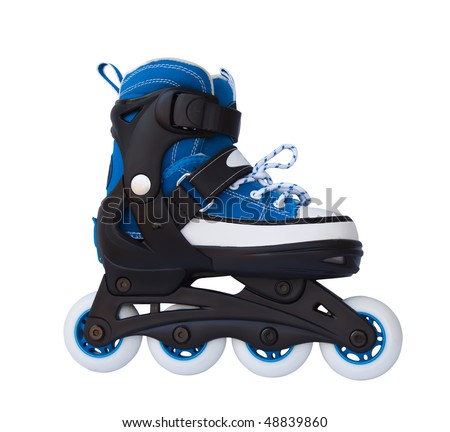 Blue roller skates isolated on a white background. - stock photo