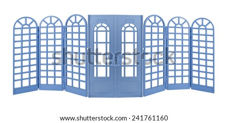 Blue Room Divider with curved tops and Doors - path included - stock photo