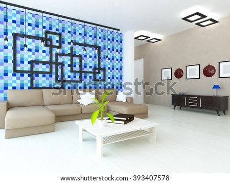 blue room in the flat with sofa.3d interior.3d illustration