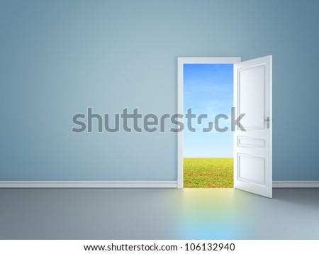 blue room with an open door in field - stock photo