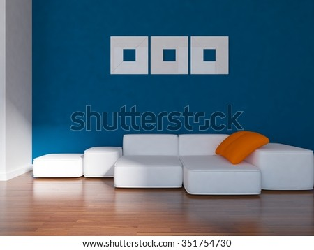 Blue room with large sofa. 3d illustration