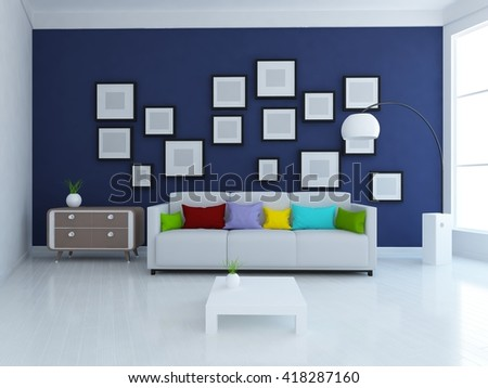 Blue room with sofa. Living room interior. Scandinavian interior. 3d illustration - stock photo