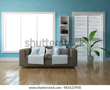 Blue room with sofa. Living room interior. Scandinavian interior. 3d illustration