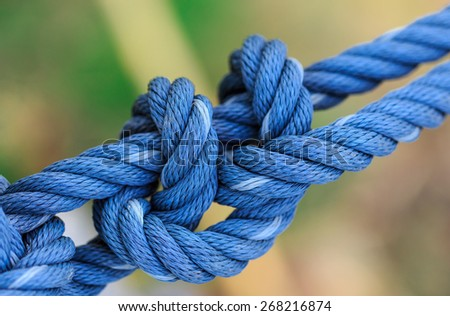 blue rope tied together in nature background - stock photo