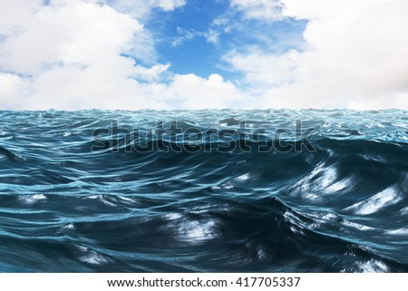 blue ocean clouds scenic - photo #25