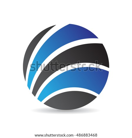 Blue round icon and design element