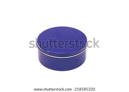 Blue round Metal Box on a white background  - stock photo