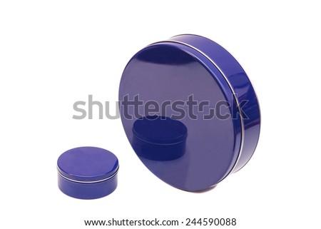 Blue round Metal Boxes on a white background  - stock photo