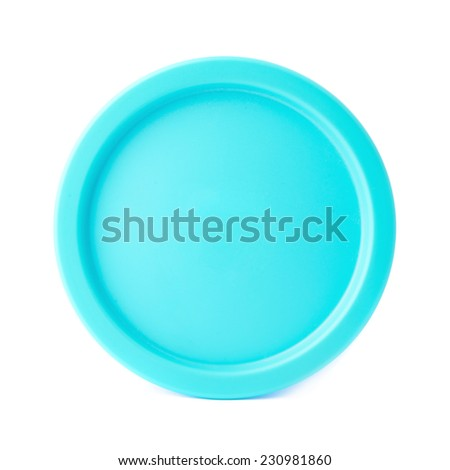 Blue round plastic cap isolated over the white background - stock photo