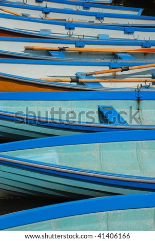 Blue rowing boats - stock photo
