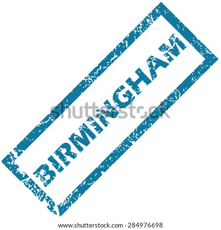 Blue rubber stamp with city name Birmingham, isolated on white