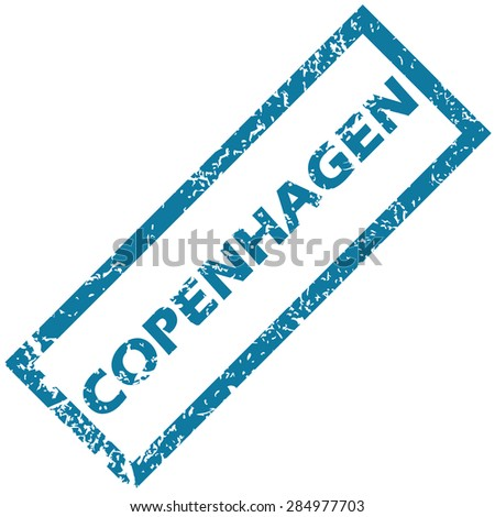 Blue rubber stamp with city name Copenhagen, isolated on white