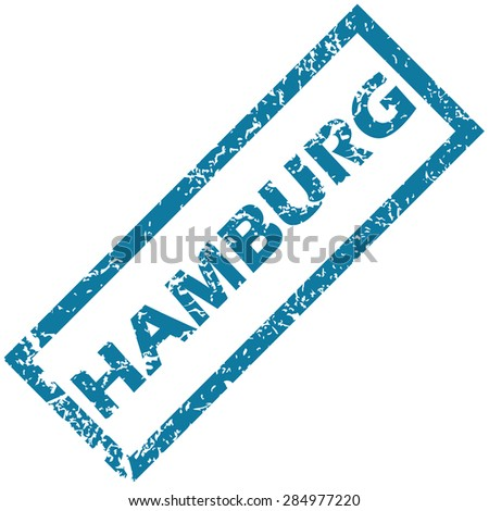 Blue rubber stamp with city name Hamburg, isolated on white