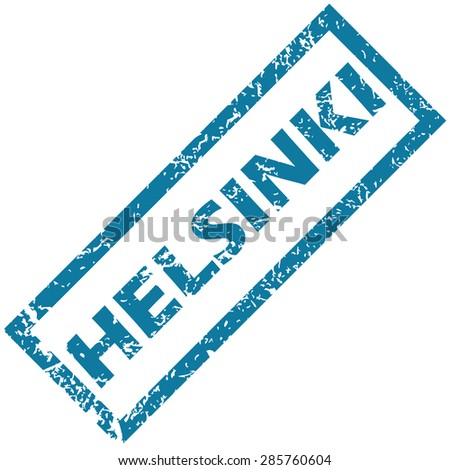 Blue rubber stamp with city name Helsinki, isolated on white - stock photo