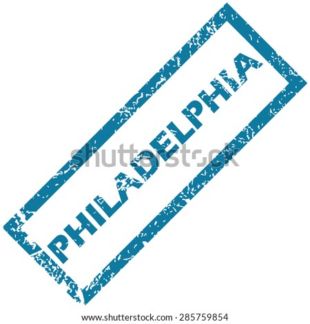 Blue rubber stamp with city name Philadelphia, isolated on white