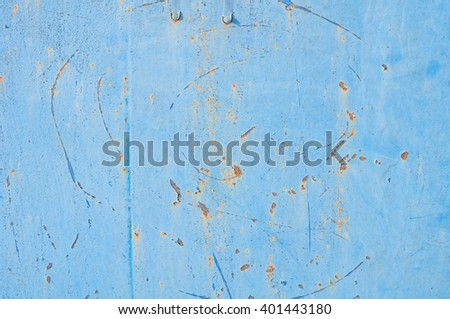Blue rusted metal wall background texture  - stock photo