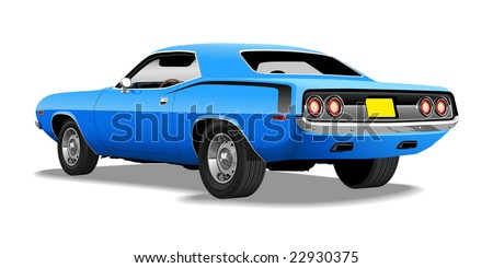 Blue 1970's Muscle Car (Vector Available)