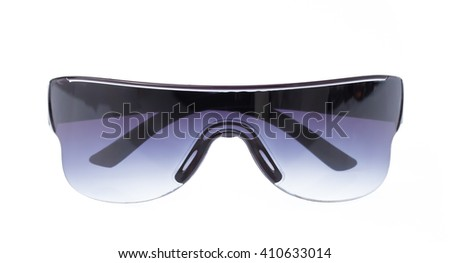 blue safety glasses isolated on the white background - stock photo