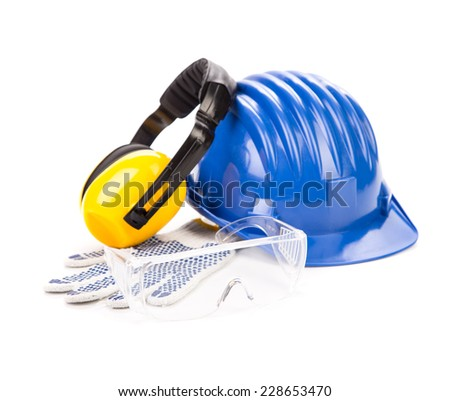 Blue safety helmet with earphones and goggles. Isolated on a white background.