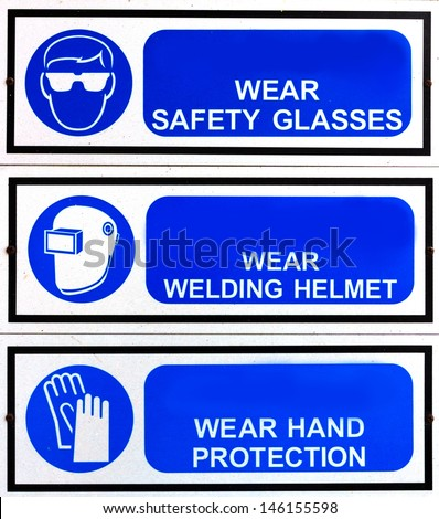 blue safety signs broad - stock photo