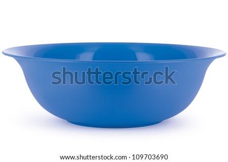 blue salad bowl isolated on white background - stock photo