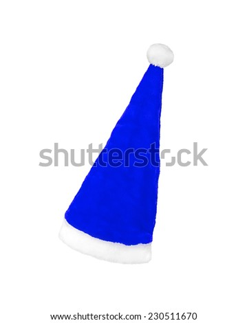 blue Santa Claus hat on white background - stock photo