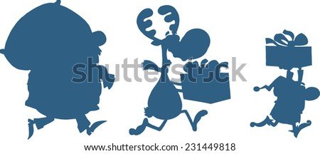 Blue Santa Claus,Reindeer And Elf Running In Christmas Night  Silhouettes. Raster Illustration Isolated On White Background  - stock photo