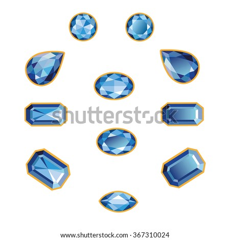 Blue sapphires different cut - round, drop, pear, oval, octagon and race. Brilliant three-dimensional jewelry on a white background. Isolated Objects, illustration