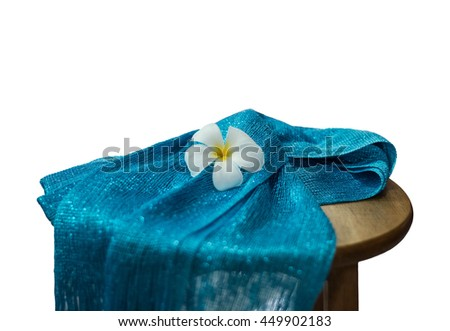 blue scarf on white background