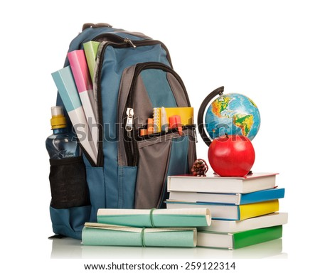 Blue school backpack with school supplies on white background - stock photo