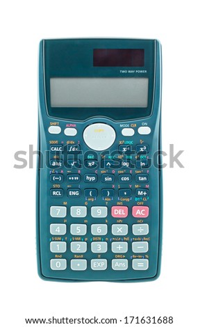 Blue scientific calculator isolated on white background - stock photo