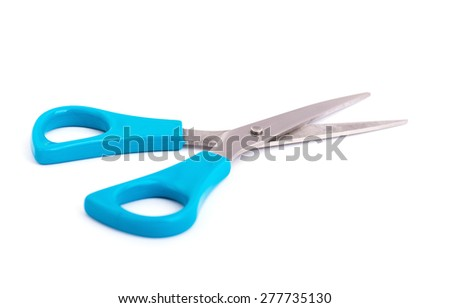 Blue scissors. Object is isolated on white background  - stock photo