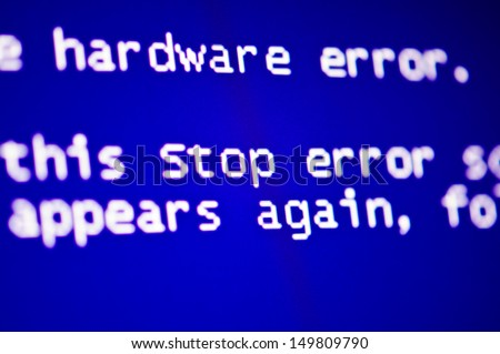 Blue screen of death, computer error crash - stock photo