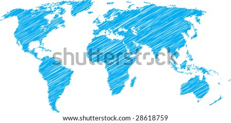 Blue scribble sketch of world map