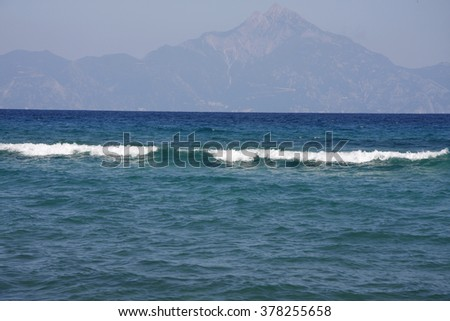 Blue sea and Athos Mountain ( Holly Mountain )