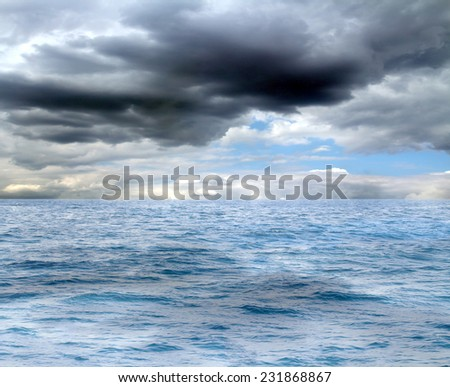 blue sea and clouds on sky