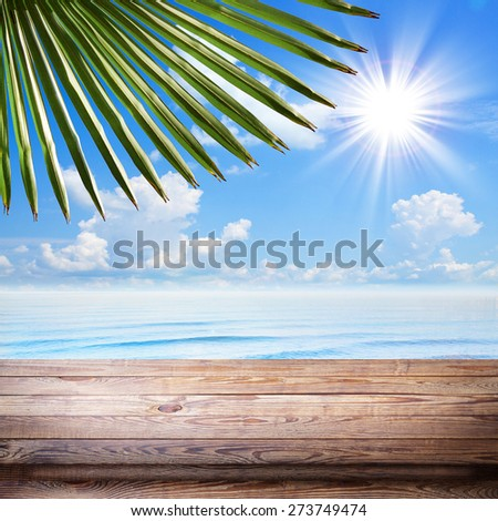Blue sea and clouds on sky beach and tropical sea. Empty wooden desk for product montage texture background wallpaper. Stand for product showcase.