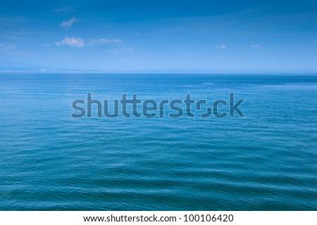 Blue sea and sky background. Adriatic sea. - stock photo