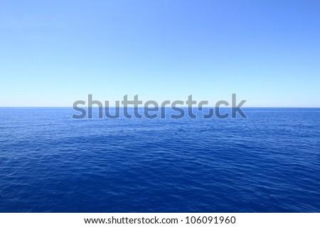 Blue sea and sky horizon - stock photo