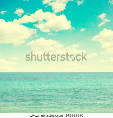 blue sea and sky, vintage retro style - stock photo