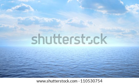Blue sea and sky with white clouds. 3d image.