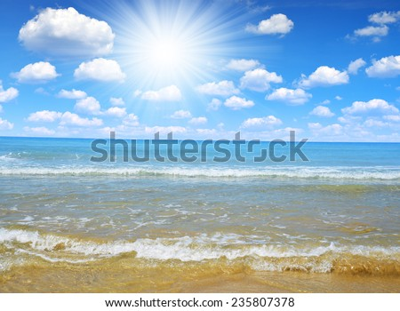 Blue sea and sunny sky - stock photo