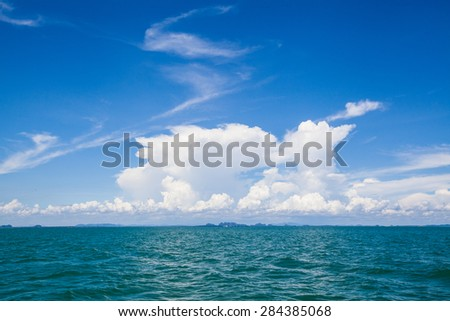 Blue sea and white cloud on the sky