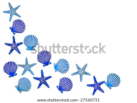 Blue sea shell bathroom decorations in a border design, isolated on white.