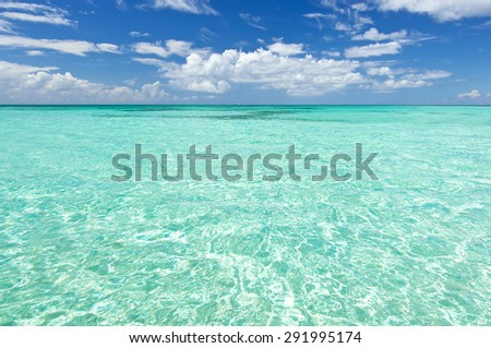 Blue sea water and sky with clouds