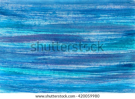 Blue sea watercolor background. Hand painted watercolour blue sky and clouds. Abstract  banner. Ink spreading. Streaks, water, aqua, waves. - stock photo