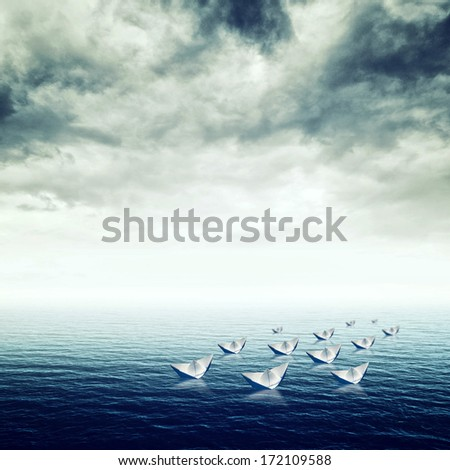 Blue sea with heavy storm clouds, conceptual image of uncertain future