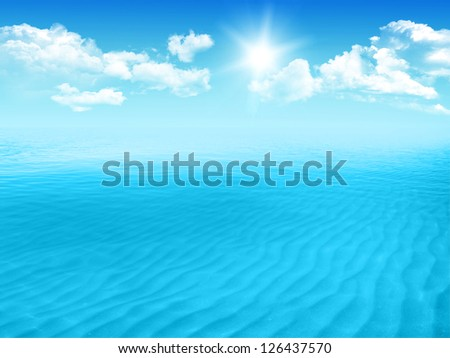 Blue sea with waves and clear blue sky - stock photo