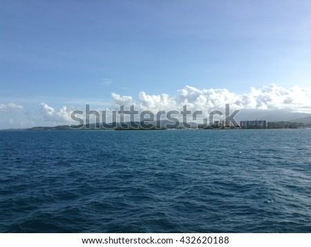 Blue sea with waves and clear blue sky