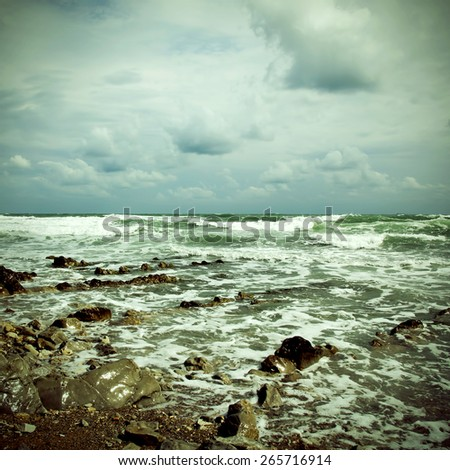 Blue sea with waves.Special toned photo in vintage style - stock photo